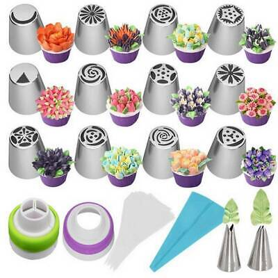 £8.19 • Buy 27Pcs Set Russian Flower Icing Piping Nozzle Decor Topper Cake Tips Baking Tools