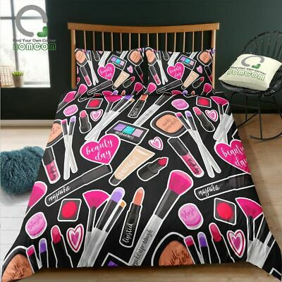 AU128.92 • Buy 3D  Printing Duvet Cover Set Makeup Brush Lipstick Black Cosmatic Bedding Set