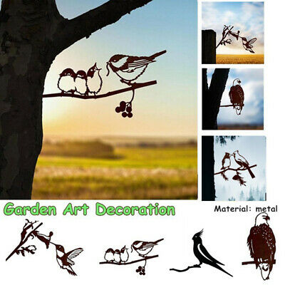£7.99 • Buy 1x Garden Branch Bird Decoration Metal Tree Art Metal Animal Ornament Yard UK