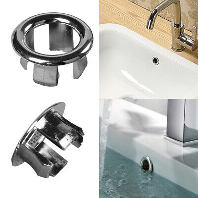 Bathroom Basin Sink Overflow Ring Chrome Hole Cover Cap Inserts Round UK • 2.08£