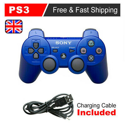 UK PS3 Controller PlayStation3 Wireless SixAxis GamePad With Data Cable Blue • 10.99£