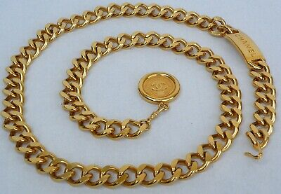 £1202.10 • Buy Chanel Chain Belt Gold Plaque And  CC Coins