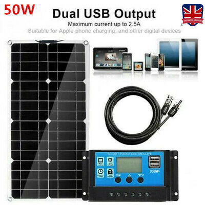 £41.79 • Buy 50W Flexible Solar Panels Kit Battery Home Camp With 30A Charge Controller UK