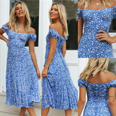 £9.99 • Buy Womens Off The Shoulder Floral Midi Dress Ladies Summer Holiday Party Sundress