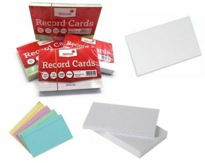 £2.75 • Buy Revision/Flash/Index Silvine Record Cards - White/Ruled/Coloured FREE P&P
