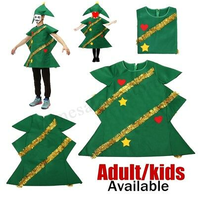 Christmas Tree Costume Adult Ladies Kids Children Party Xmas Fancy Dress Outfit • 12.33£
