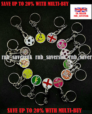 £1 Pound Coin New Shape Shopping Trolley Token Keyring Clasp Over 10 Designs  • 1.79£