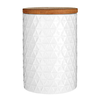 £13.80 • Buy Premier Housewares Canister White Triangle With Bamboo Lid Modern Home Stylish
