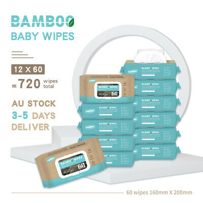 AU18.17 • Buy Palmbaby Baby Wipes Bulk Bamboo ECO Fragrance Free Baby Water Wet Wipes 720 Pack