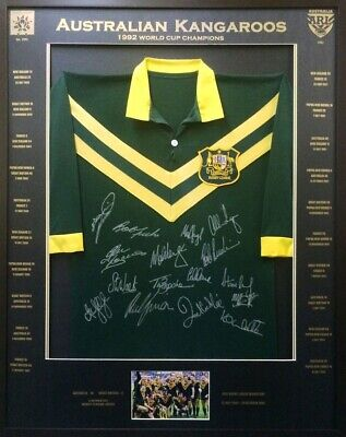 AU500 • Buy Blazed In Glory - 1992 Kangaroos World Cup Champions- NRL Signed & Framed Jersey