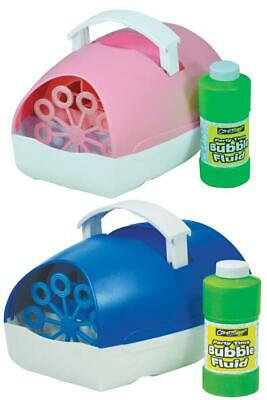 £16.99 • Buy Kids Bubble Machine Battery Operated Portable With Fluid Blue Or Pink - Cheetah