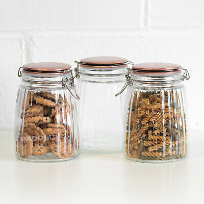 £16.99 • Buy 3 X 1.5L Ribbed Glass Jars Copper Lids Canisters Vintage Large Tea Coffee Sugar