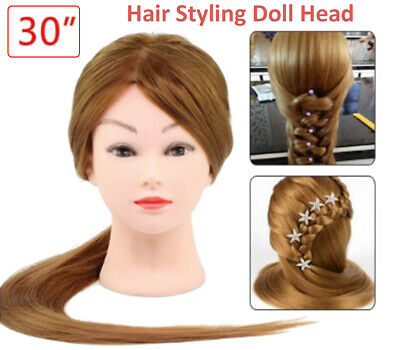 Salon Real Human Hair Training Head Hairdressing Styling Mannequin Doll + Clamp • 14.49£