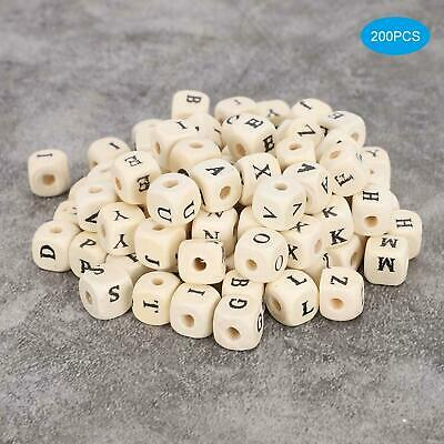 £5.22 • Buy 200pcs Wooden Alphabet Letter DIY Beads Baby Teether For Jewelry DIY Making 10mm