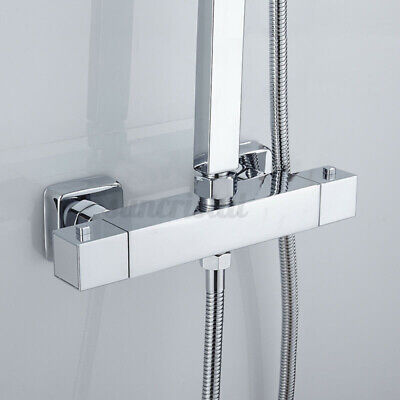 £36.29 • Buy Square Thermostatic Shower Bar Mixer Valve Tap Chrome Bathroom Twin Outlet NEW
