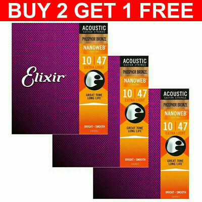 AU11.99 • Buy Elixir Acoustic Guitar Strings Nanoweb Phosphor 16002 16027 16052 New