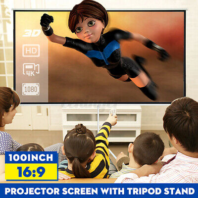 AU115.99 • Buy 16:9 Portable Projector Screen Fabric Tripod Stand HD 4K Indoor Outdoor Theater