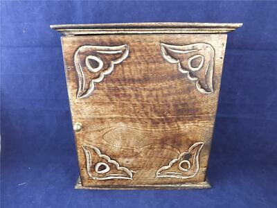 £24.99 • Buy Wooden Key Holder Cupboard With Carved Decoration.