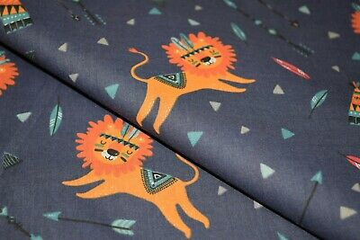 £3.95 • Buy African Aztec Cartoon Lion -  Printed Polycotton Fabric, High Quality