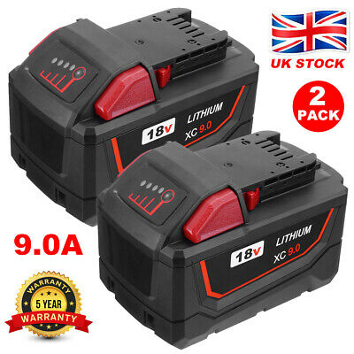 2X For Milwaukee M18 18V Extended Capacity Battery Lithium XC 9.0 AH 48-11-1860 • 46£