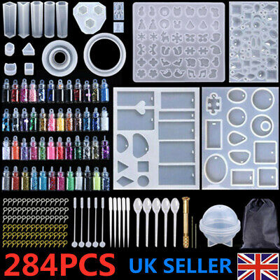 £9.59 • Buy 284PCS Resin Casting Molds Silicone DIY Jewelry Pendant Mould Kit Casting Craft