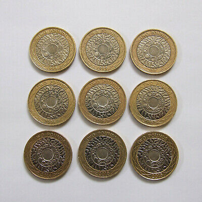 9x £2 Two Pound Coins Technology, Circulated Condition Job Lot, Shoulders Giants • 10£