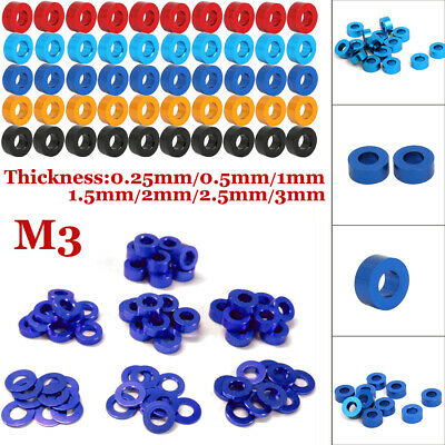 $2.65 • Buy CNC M3 0.25/0.5/1/1.5/2/2.5/3mm Aluminum Alloy Flat Round Spacer Model Anodized