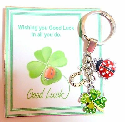 Good Luck Keyring Gift With 4 Leaf Clover Lucky Horseshoe And Ladybird In Bag • 4.50£