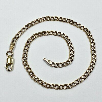 AU115 • Buy 9ct Yellow Gold Anklet Or Bracelet 24cm Long Hollow Link Italian Made