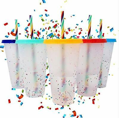 Confetti Reusable Colour Changing Plastic Cups With Lids And Straws Set Of 5 • 20£