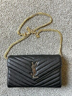 AU849 • Buy Authentic YSL Saint Laurent Envelop Chain Messenger Leather Bag