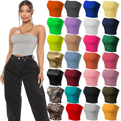 £6.99 • Buy New Womens Boob Tube Strapless Sexy Bandeau Causal Stretchy Vest Bra Crop Tops