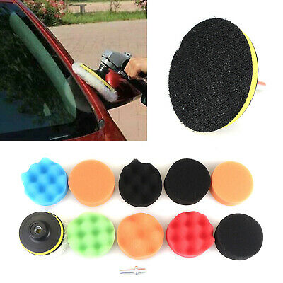 Sponge Buffing Polishing Pad Kit 12x 3 Inch For Car Polisher W/ Drill Adapter L6 • 0.99£