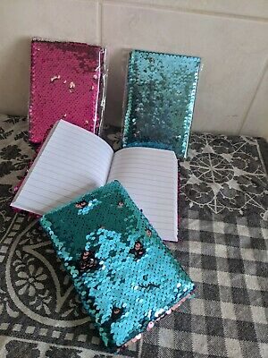 £3.59 • Buy A6 Sequinen LINED Notebook Notepad Diary Childrens Girls PINK OR TEAL X1 NEW