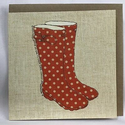 £3.25 • Buy Beautiful Juniper Tree Country Life Birthday Card With Spotty Welly's