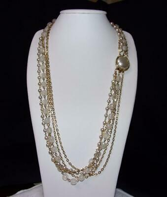 $14.99 • Buy 5 Strand Faux Pearl, Translucent Bead & Cable Chain Necklace Mabe Pearl Clasp