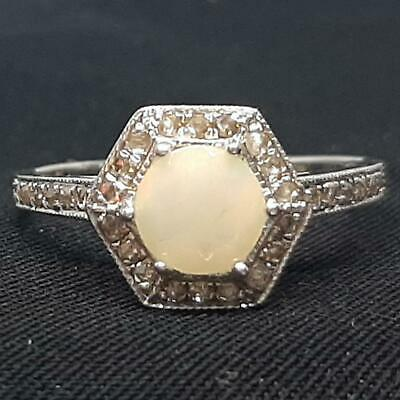 Genuine 1.40ctw Opal & H-SI Diamond 925 Sterling Silver Ring Size 7 • 0.72£
