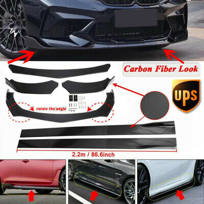 $109.99 • Buy Carbon Fiber Front Bumper Lip Spoiler Splitter Kit +86.6'' Side Skirts Universal