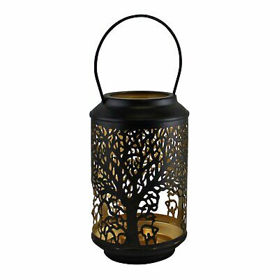 £8.95 • Buy 18cm Small Tree Of Life Black Votive Candle Holder Lantern Laser Cut Out Design