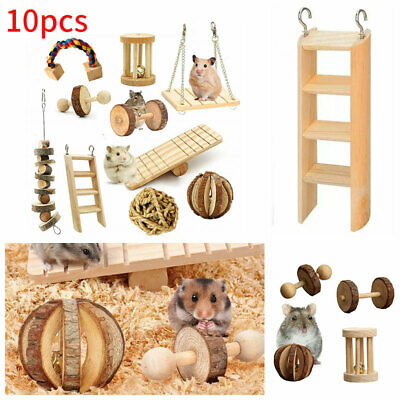 £12.97 • Buy 10pcs Wooden Hamster Chew Toy For Hamster Rabbit Guinea Pig Accessories Tool Set