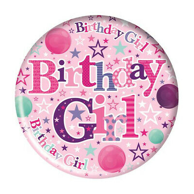 $3.37 • Buy 56mm Birthday Girl Birthday Party Badge With Plastic Clip Pink Stars Balloons