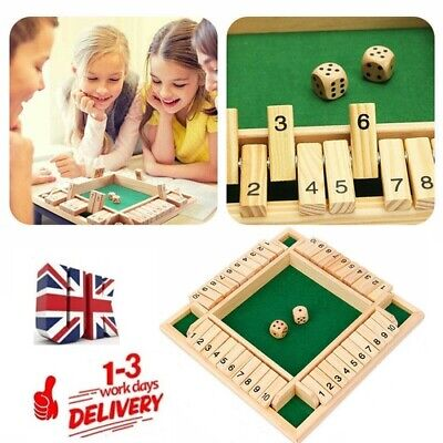 £9.95 • Buy 4 Players Shut The Box Wooden Traditional Pub Dice Family Kids Childrens Game UK