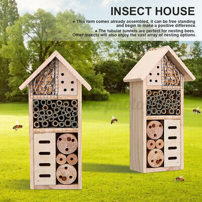 £11.37 • Buy Insect Nest Home Wooden House Bee Bug Ladybird Hotel Shelter Roof Garden B