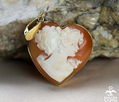 $650 • Buy Italian M+M Scognamiglio 14k Yellow Gold Heart-Shaped Carved Shell Cameo Pendant