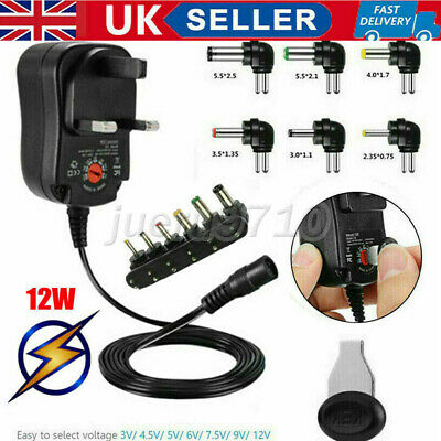 £8.19 • Buy UK 3V 4.5V 5V 6V 7.5V 9V 12V Universal Mains AC/DC Power Supply Adapter Charger