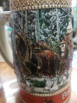 $ CDN7.39 • Buy 1987 Budweiser Clydesdale Collector Holiday Beer Stein  C  Series Anheuser Busch