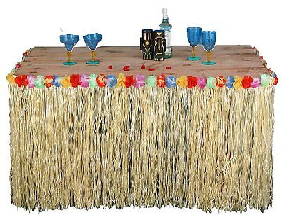 £5.49 • Buy Tropical Hawaiian Luau Table Grass Skirt With Flowers BBQ Party Decorations HW01