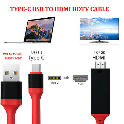 AU16.69 • Buy MHL USB Type C To HDMI 1080P HD TV Cable Adapter For Android LG Samsung Motorola