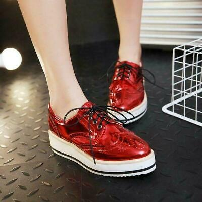 £23.72 • Buy Brogue Womens Lace Up Platform Wedge Heel Wing Tip Creepers Shoes Oxfords