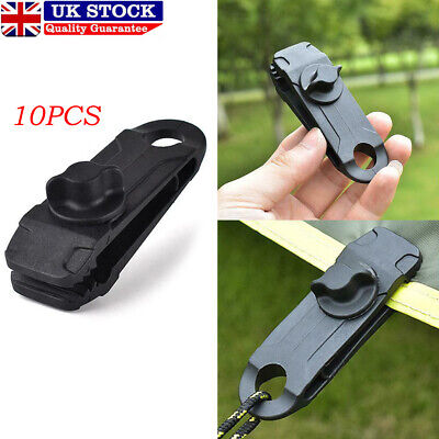10 X Tent Tarp Tarpaulin Clips Clamps Buckle Camping Tool Heavy Duty Reusable UK • 8.59£